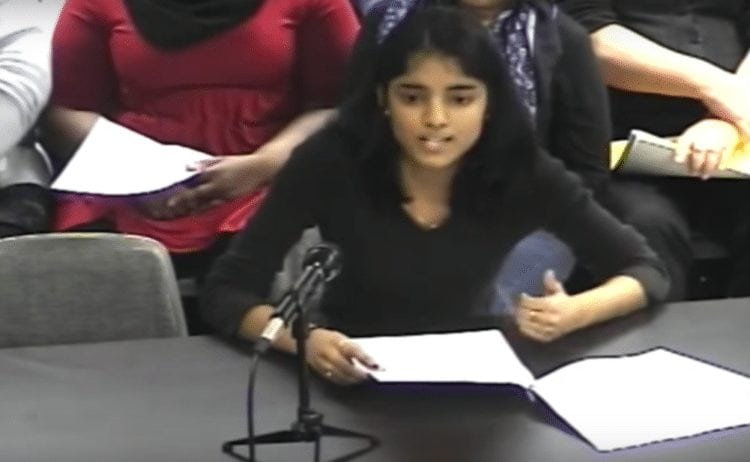 Prachi Ruina, an Ithaca High School student and one of the organizers of Students United Ithaca, speaking at the ICSD board meeting. Photo courtesy of YouTube