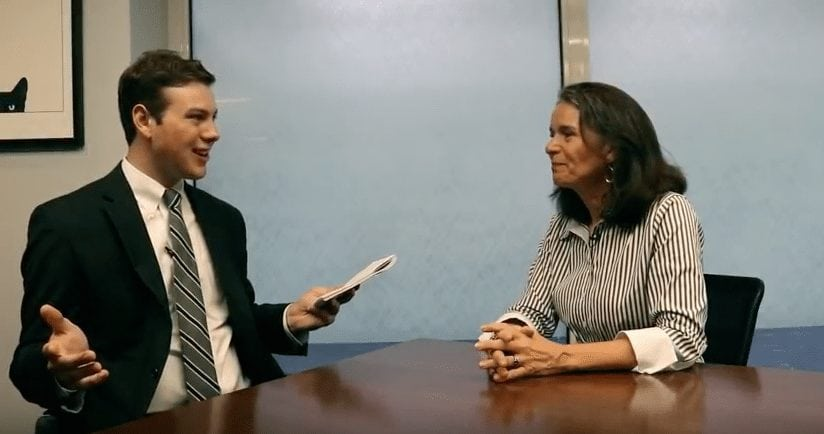 Vaughn Golden from the Ithaca Times speaking with Democratic Congressional Candidate Linda Andrei on June 23, 2018. Photo courtesy of Vaughn Golden.