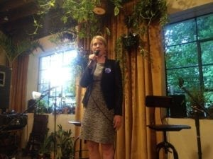 Featured image description: Cynthia Nixon speaking in Ithaca at Argos Inn on Jun. 3. Photo credit: Nick Reynolds