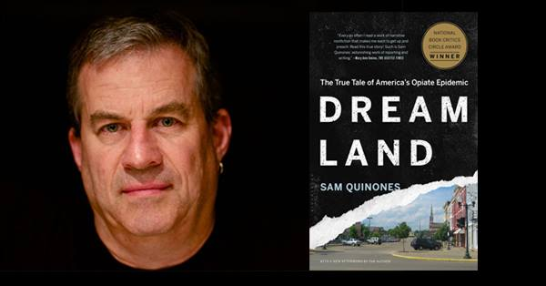 Photo: Courtesy of Facebook. Sam Quinones next to book, Dreamland.
