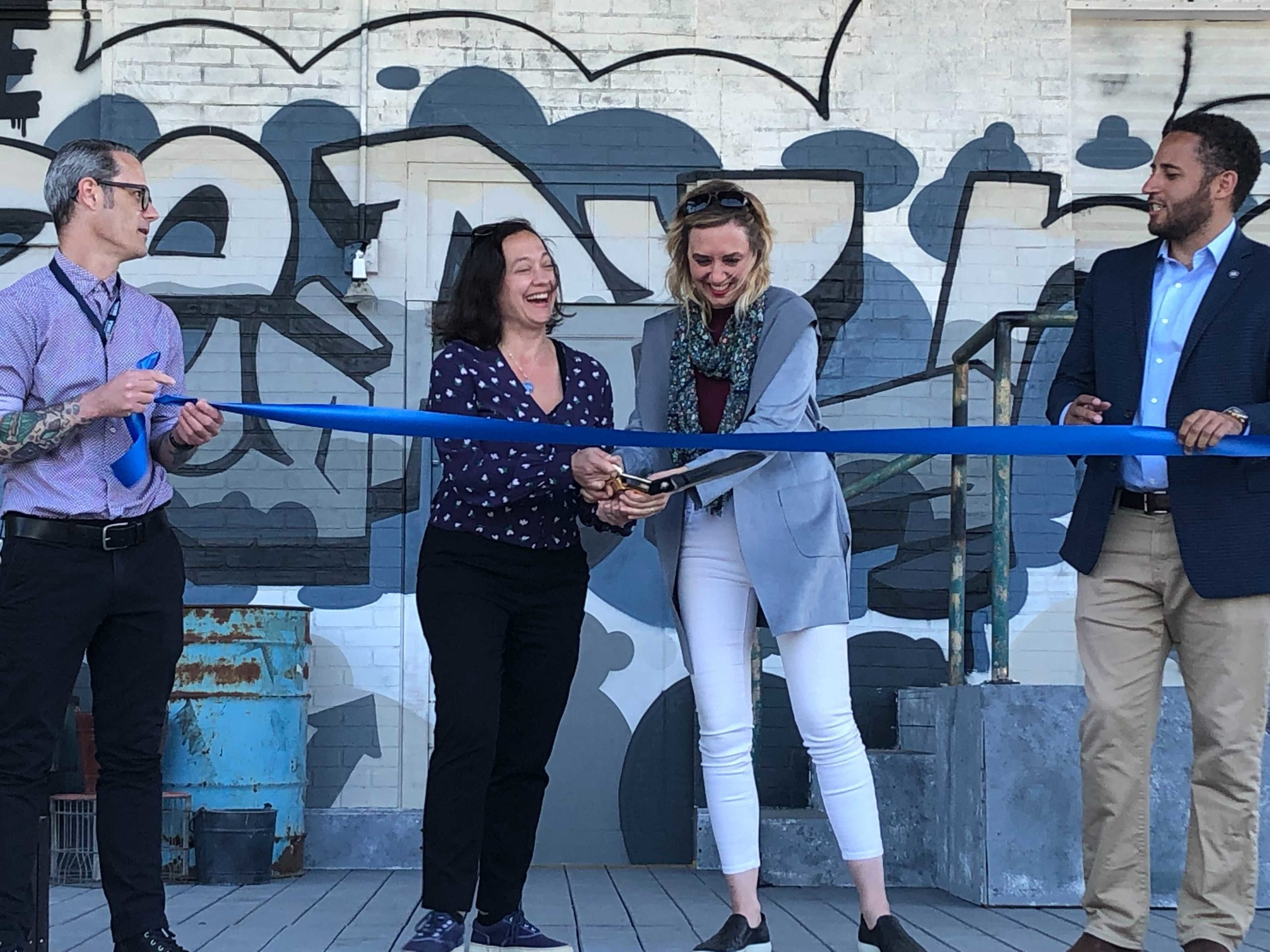 Ribbon cutting ceremony for the Hangar Theatre's outdoor stage (Michael Memis/WRFI)