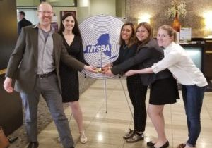 From left to right, at NYSBA Luncheon in Binghamton on Apr. 18: WRFI General Manager Felix Teitelbaum; News Director Laura Rosbrow-Telem; Producer Elena Piech; Producer Skylar Eagle; and Ithaca Voice Managing Editor Kelsey O'Connor. Photo credit: Ofri Telem