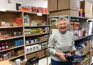 Joan Barber prepares for pantry pick up at the Salvation Army in Ithaca.